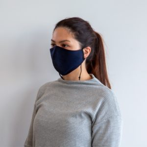 Woman with Colan PAM face mask looking left
